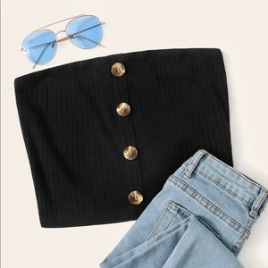 Tops - NWT $29 Ribbed Button Front Crop Top Shirt
